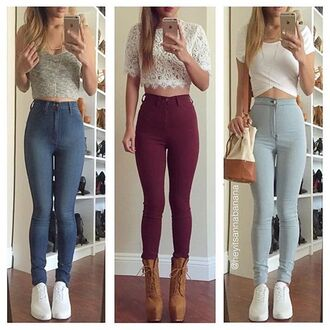 jeans high waisted jeans light washed denim maroon/burgundy skinny jeans