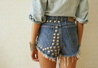 shorts short studded shorts blue shorts