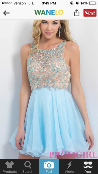 dress short dress long dress homecoming prom prom gown high neck sparkle light blue homecoming dress prom dress sparkly dress