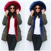 coat,one nation clothing,parka,fur collar parka,khaki green parka,red fur collar parka,fur collar jacket,blue parka,fur collar coat