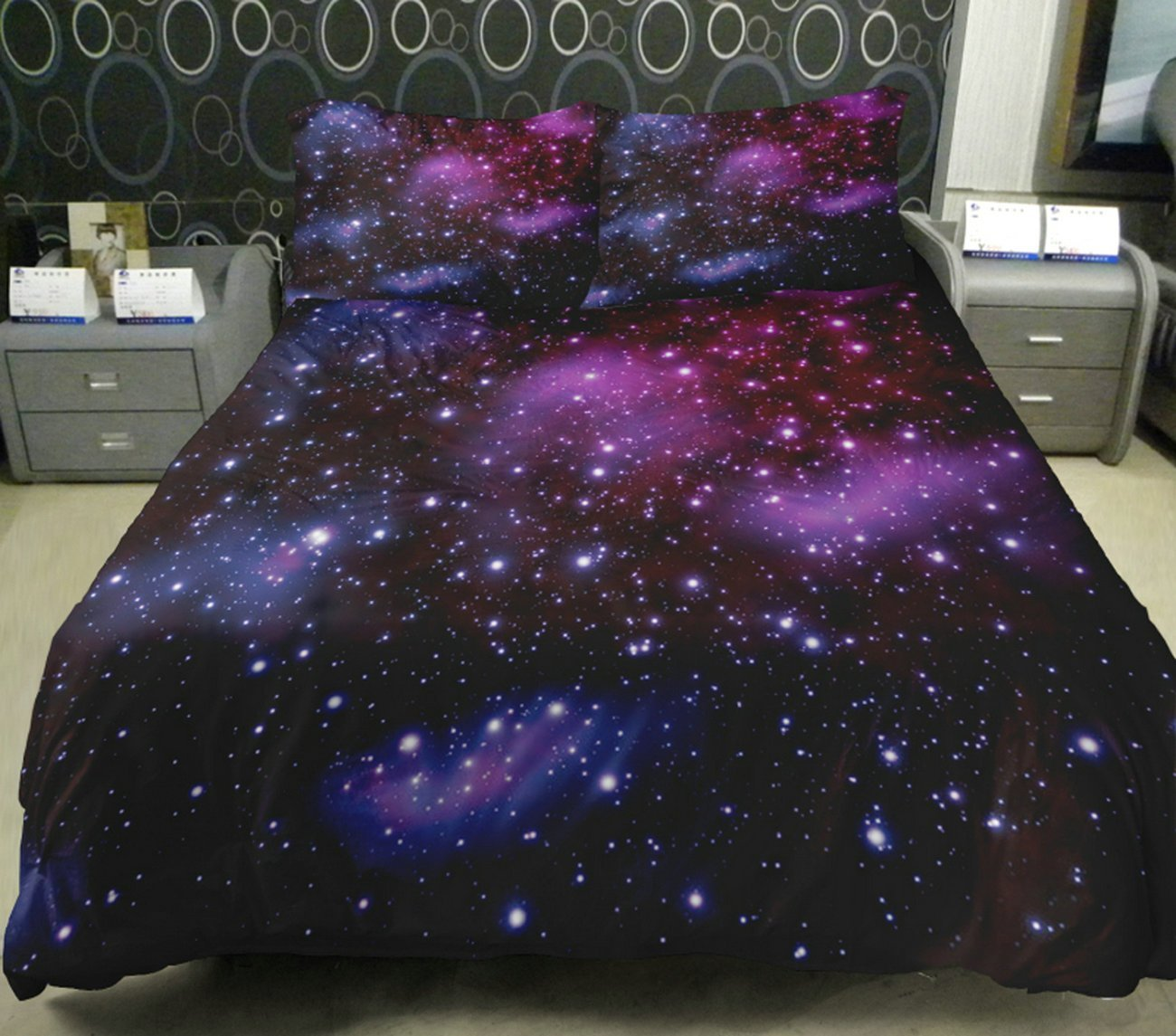 Amazon.com - Galaxy Quilt Cover Galaxy Duvet Cover Galaxy Sheets Space Sheets Outer Space Bedding Set Bedspread with 2 Matching Pillow Covers (FULL) -