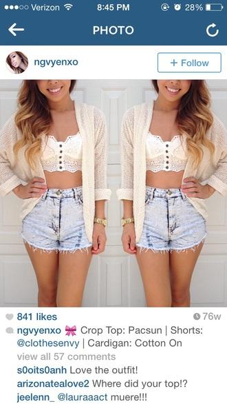 cardigan high waisted shorts