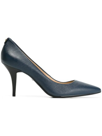 pointed toe pumps women pumps leather blue shoes
