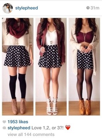 sweater burgundy jacket baige comfysweater skirt shorts scarf shirt black polka dots