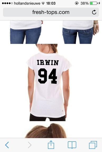 black white t-shirt irwin irwin 94 ashton irwin ashtonfletcherirwin shirt