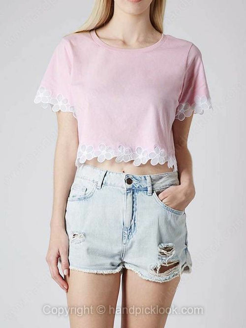 Pink Round Neck Short Sleeve Crop T-Shirt - HandpickLook.com