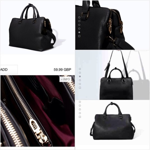 zara black bag citybag zips