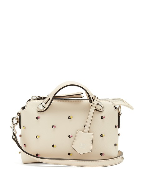 Fendi mini embellished bag leather bag leather cream