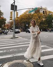 shoes,sneakers,long dress,long sleeves,ruffle dress,lace dress,shoulder bag