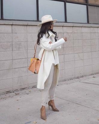 coat white coat pants white pants pumps high heel pumps felt hat hat fedora all white everything bag