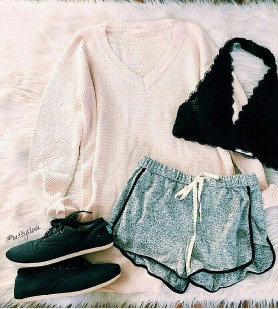Shirt bralette black tumblr lace bralette tumblr outfit - Wheretoget