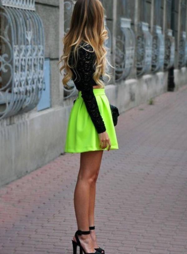 Lime zip up back skater skirt amiclubwear clothing skirts online