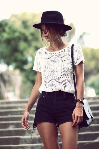 shirt hat tank top white blouse high waisted shorts shorts high cream black crochet t-shirt top white top crochet top