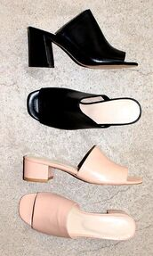 shoes,nude shoes,black shoes,leather shoes,black heels,mules,medium heels
