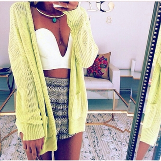cardigan neon yellow cardigan