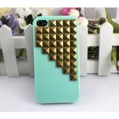 jewels,phone cover,light blue,studs