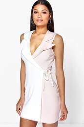 dress,blazer dress,pastel dress,boohoo dress,wrap dress,white dress,mini wrap dress