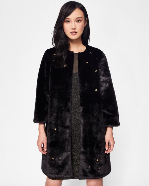 Ted Baker coat faux fur coat fur coat fur faux fur embellished bee black