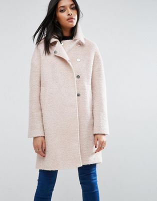ASOS Oversized Cocoon Coat with Funnel Neck in wool Mix and Boucle Texture at asos.com