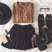 cardigan,jumper,sweater,brown,knitted sweater,socks,platform lace up boots,cable knit