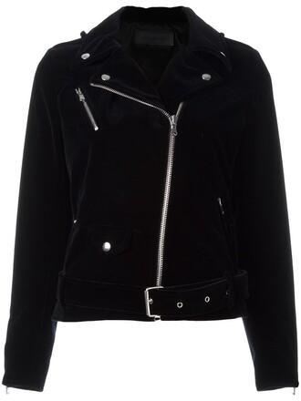 jacket biker jacket zip women cotton blue