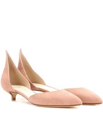 heel pumps suede pink shoes