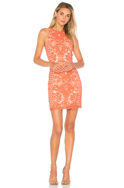 Endless Rose dress crochet dress high high neck floral crochet coral