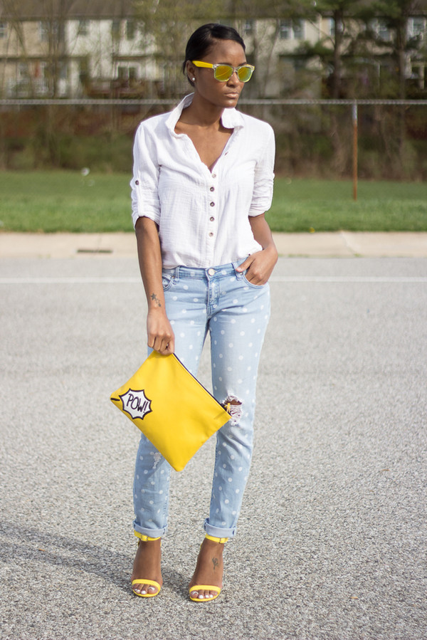 the daileigh t-shirt jeans bag sunglasses shoes yellow sunglasses