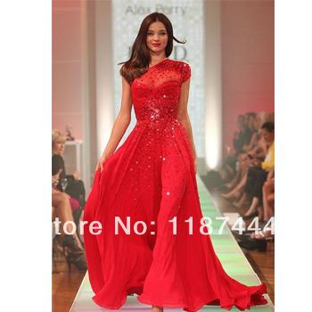 Miranda kerr red prom dress sequined one shoulder dress david jones spring summer 2012 fashion show