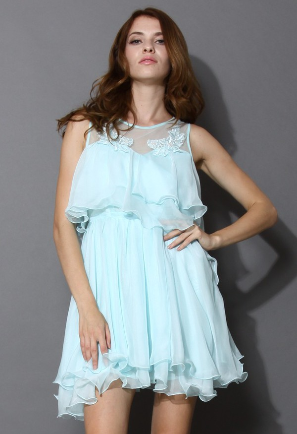 chicwish pixie embroidered frilling dress mint blue