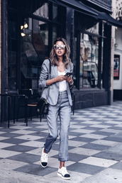 viva luxury,blogger,jacket,shoes,pants,sunglasses,blazer,suit,shoulder bag,sneakers,grey suit,grey jacket