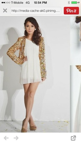 gold cardigan lose loose sequins