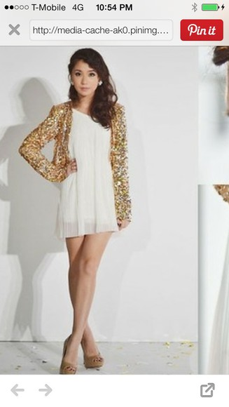 lose gold loose cardigan sequins
