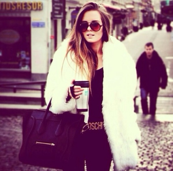 coat white fur coat