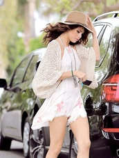 dress,selena gomez,floral dress,white with floral,sweater