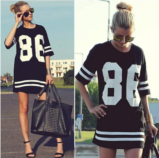 New 2014 Summer Women Celebrity Oversized 86 American Baseball Tee T Shirt Top Short Sleeve Loose Dress, Black, M, L, XL LQ4354-in T-Shirts from Apparel & Accessories on Aliexpress.com