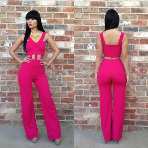 & Graceful Sling Pure Color Hollow-out Jumpsuit----Rose-red_New ...
