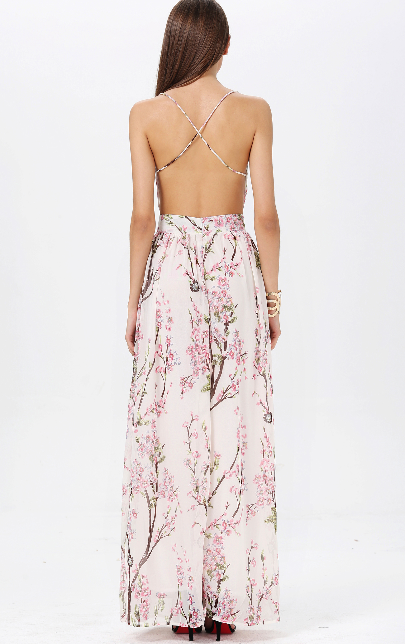 Neck spaghetti straps backless maxi dress