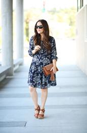 dress corilynn,blogger,dress,bag,sunglasses,shoes,clutch,wedges,blue dress,long sleeves