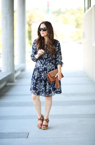 dress corilynn blogger dress bag sunglasses shoes clutch wedges blue dress long sleeves