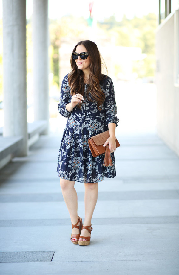 dress corilynn blogger dress bag sunglasses shoes clutch wedges blue dress long sleeves