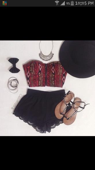 tank top red dress sexy red top aztec crop top aztec top crop tops strapless top black shorts lace up high waisted shorts lace shorts black lace dress black dress shorts top