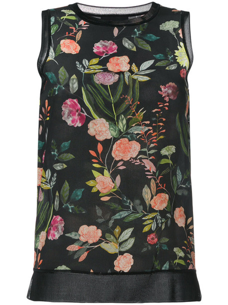 theory top women floral print black silk