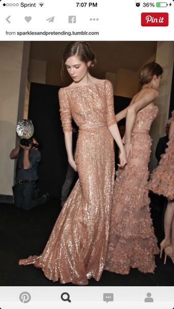 dress gold sequin long sleeve dresss