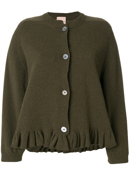 cardigan cardigan ruffle women wool green sweater