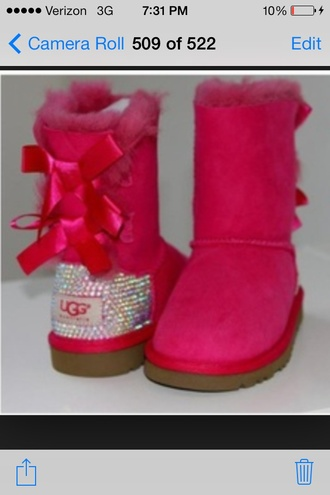 shoes hot pink ugg boots sparkle bows ribbon