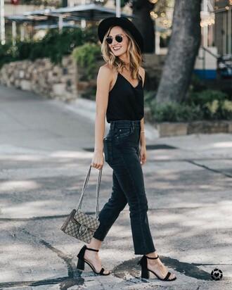 top tumblr black top camisole denim jeans black jeans flare jeans sandals black sandals mid heel sandals bag felt hat hat shoes