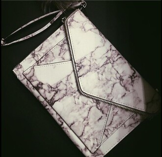 bag marble geometric fashion rebecca minkoff white zip grey envelope clutch clutch