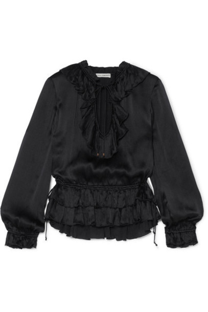 Ulla Johnson blouse black silk satin top