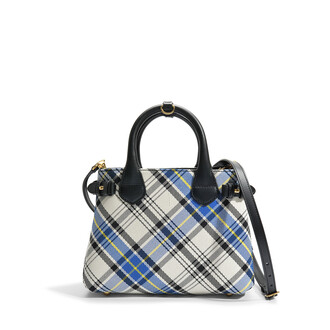 bag white cotton tartan